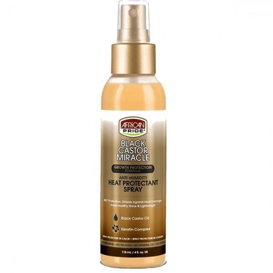 African Pride -Black Castor Miracle -Spray protection thermique Ricin/Keratine