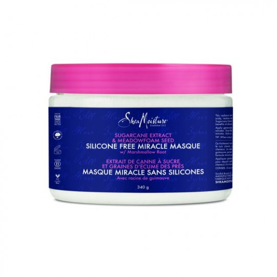 Shea Moisture - Sugarcane Extract & Meadowfoam Seed - Silicone Free Miracle Masque - Masque Capillaire Sans Silicones (340g)