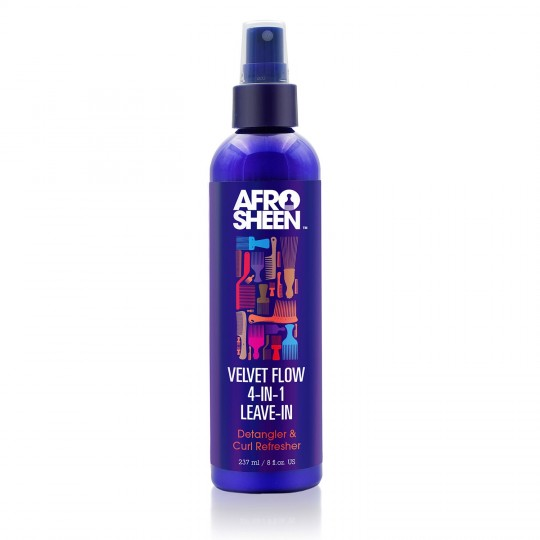 Afro Sheen - Velvet Flow 4-In-1 Leave-In Spray - Aprés Shampoing Sans Rinçage Démêlant & Hydratant Boucles (237ml)