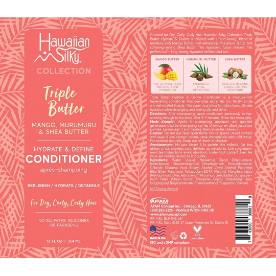 Hawaiian Silky - Triple Butter - Hydrate & Define Conditioner - Après Shampoing Hydratant Définissant (354ml)