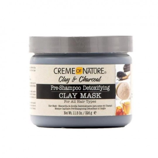 Creme Of Nature - Clay & Charcoal - Pre-Shampoo Detoxifying Clay Mask - Masque Pré-Shampoing Argile Et Charbon (326 g)