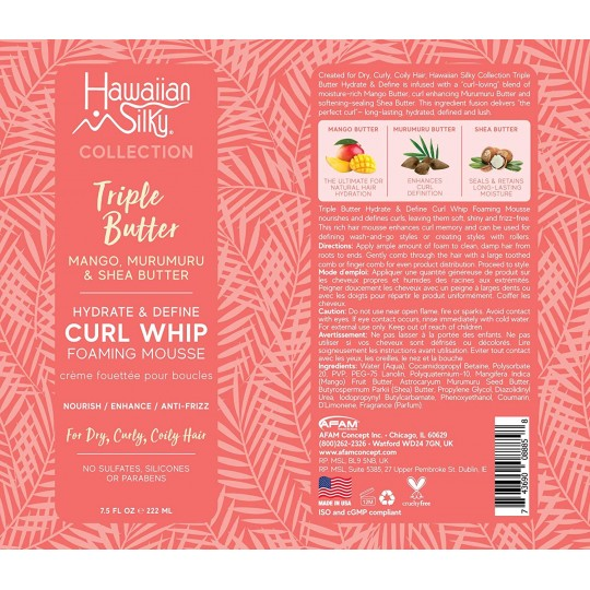 Hawaiian Silky - Triple Butter - Hydrate & Define Curl Whip - Mousse Définissant Boucles (222ml)