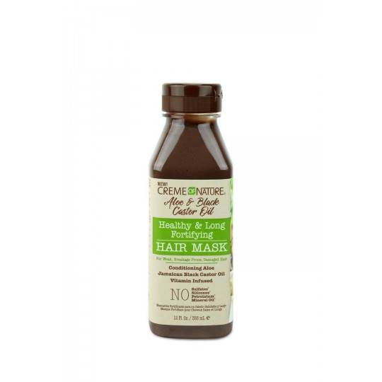 Creme Of Nature - Aloe & Black Castor Oil - Healthy & Long Fortifying Hair Mask - Masque Capillaire Fortifiant (355 ml)