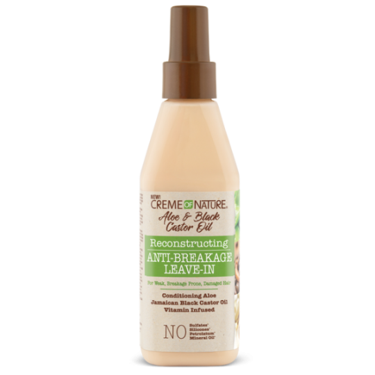 Creme Of Nature - Aloe & Black Castor Oil - Reconstructing Anti-Breakage Leave-In - Soin Sans Rinçage Reparateur (236,5 ml)